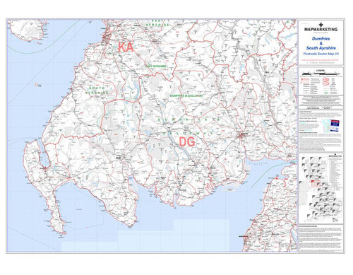 Wall Maps - Dumfries And South Ayrshire Postcode Wall Map - Sector Map 23