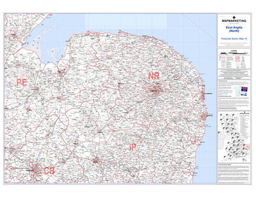 Wall Maps - East Anglia (North) Postcode Wall Map - Sector Map 15