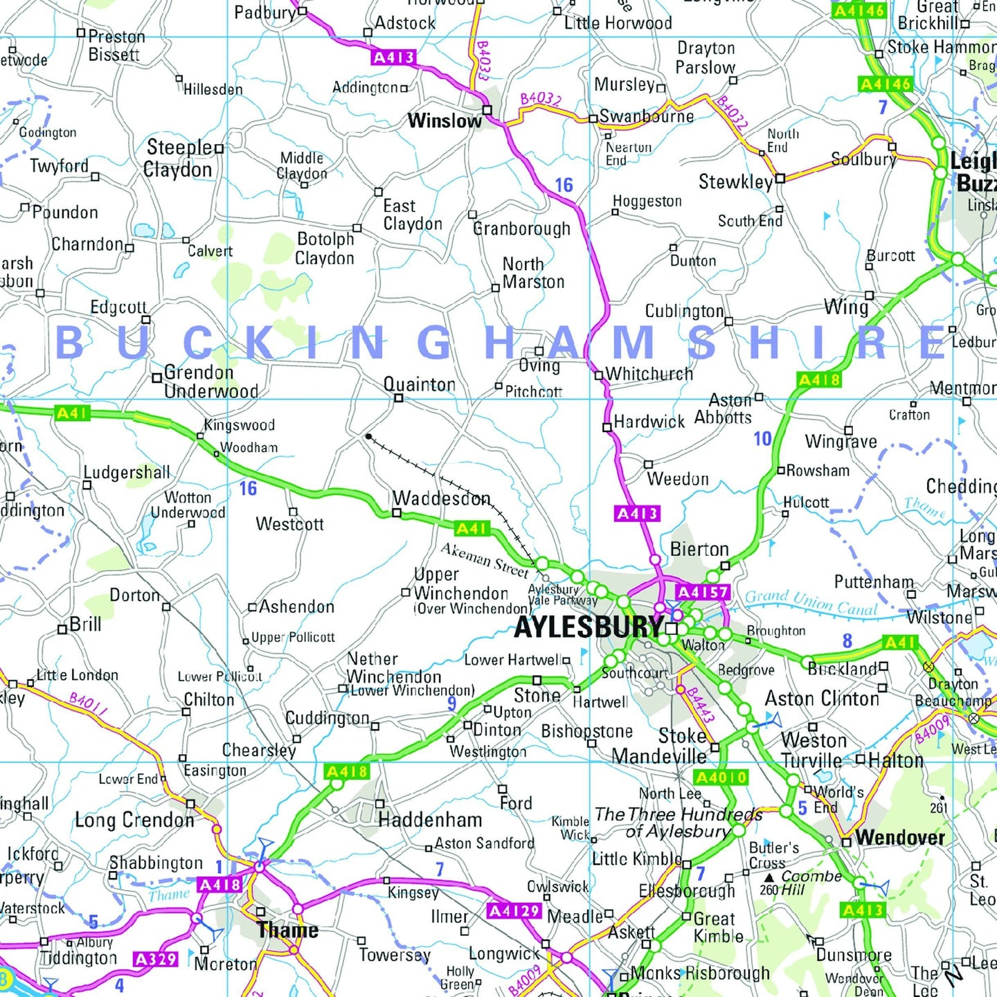 East Midlands and East Anglia including London Regional Road Map