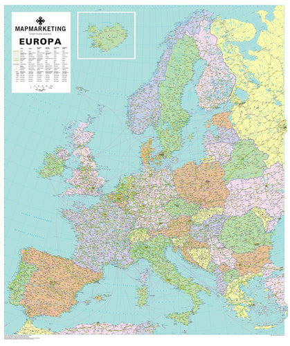 Wall Maps - Europa Political Wall Map Of Europe