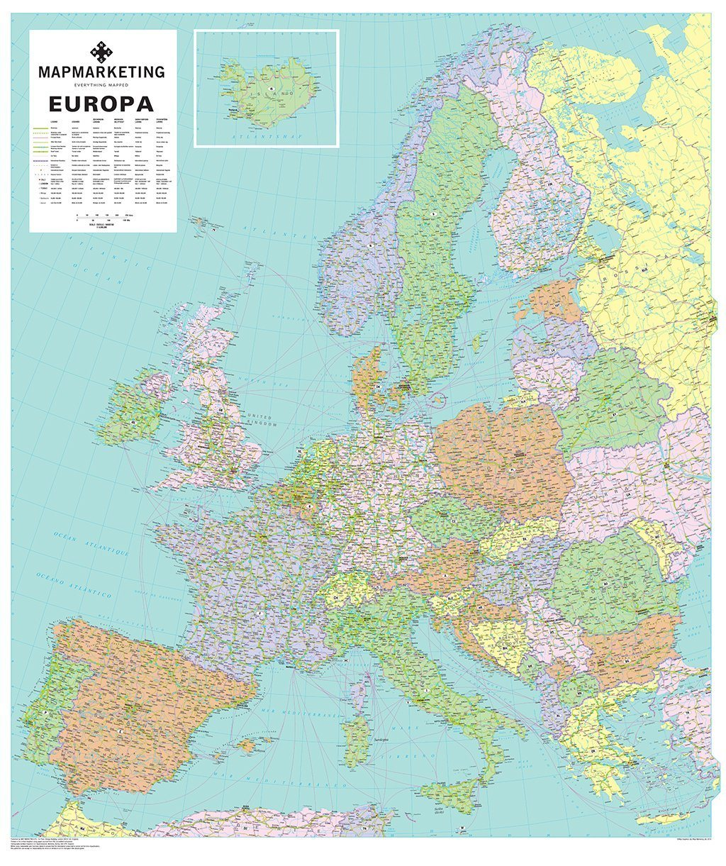 europa political wall map of europe map marketing