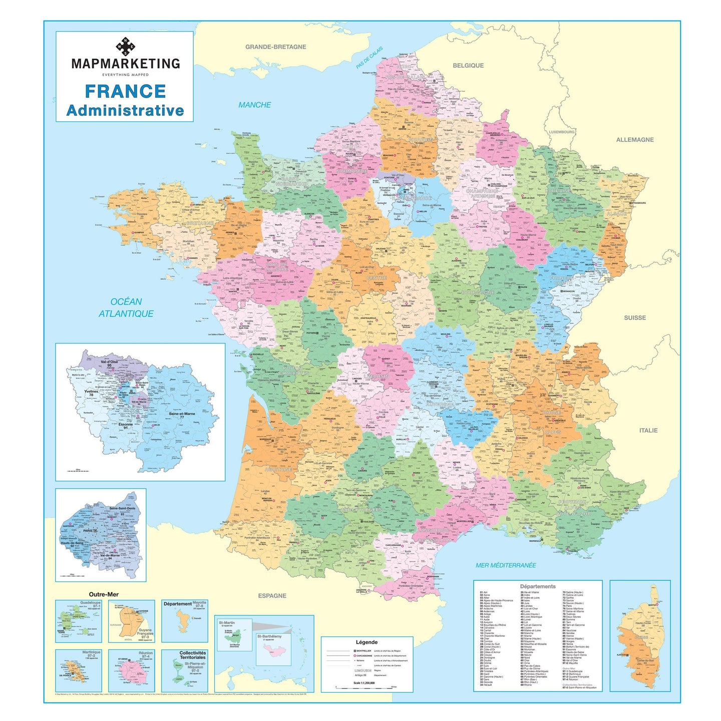 French Administrative Wall Map France Map Map Marketing