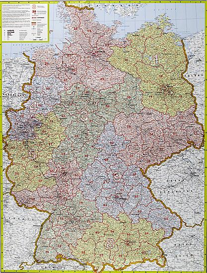 Germany Postcode Wall Map - Laminated or Framed