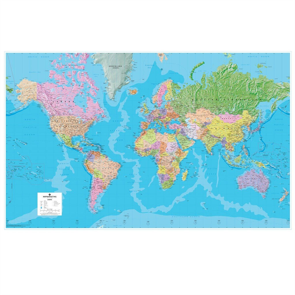 Giant World Political Wall Map Extra Large Wall Map Of The World