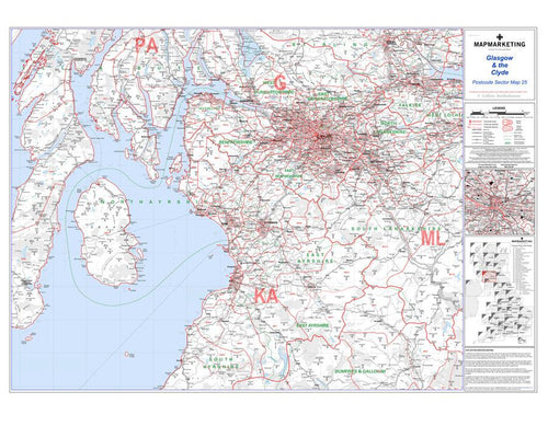 Wall Maps - Glasgow And The Clyde Postcode Wall Map Sector Map 25