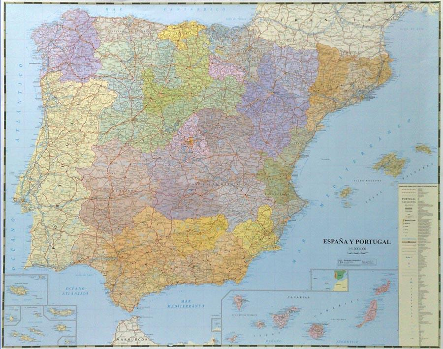 Map Of The Spain.Iberian Political Wall Map Spain And Portugal Map