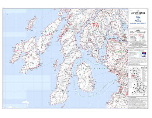 Wall Maps - Islay And Kintyre Postcode Wall Map - Sector Map 24