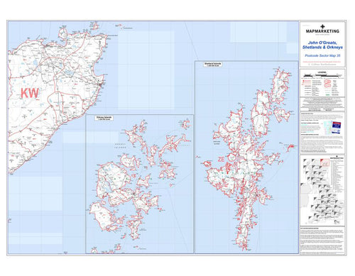 Wall Maps - John O'Groats, Shetlands And Orkneys Postcode Wall Map - Sector Map 35
