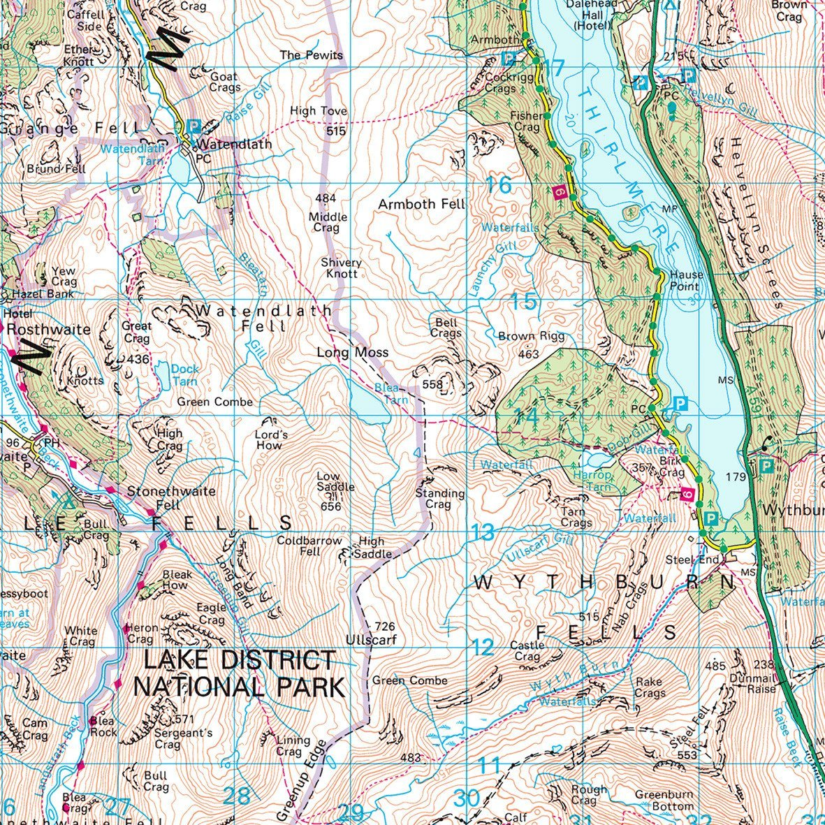 lake district map os Lake District Uk National Park Wall Map lake district map os
