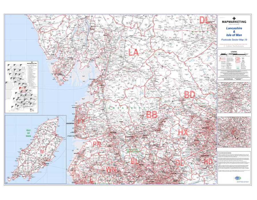 Wall Maps - Lancashire And The Isle Of Man Postcode Wall Map - Sector Map 19