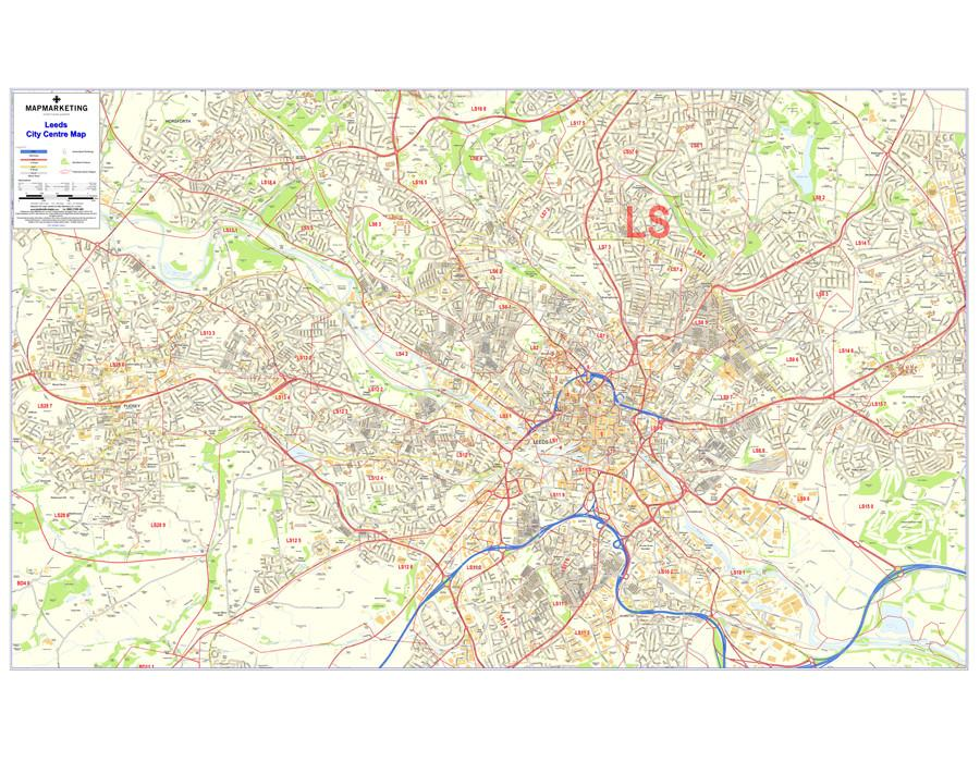 Wall Maps - Leeds Postcode Wall Map - City Sector Map 6