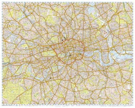 Central London Street Map.London A Z Wall Map Premier Edition