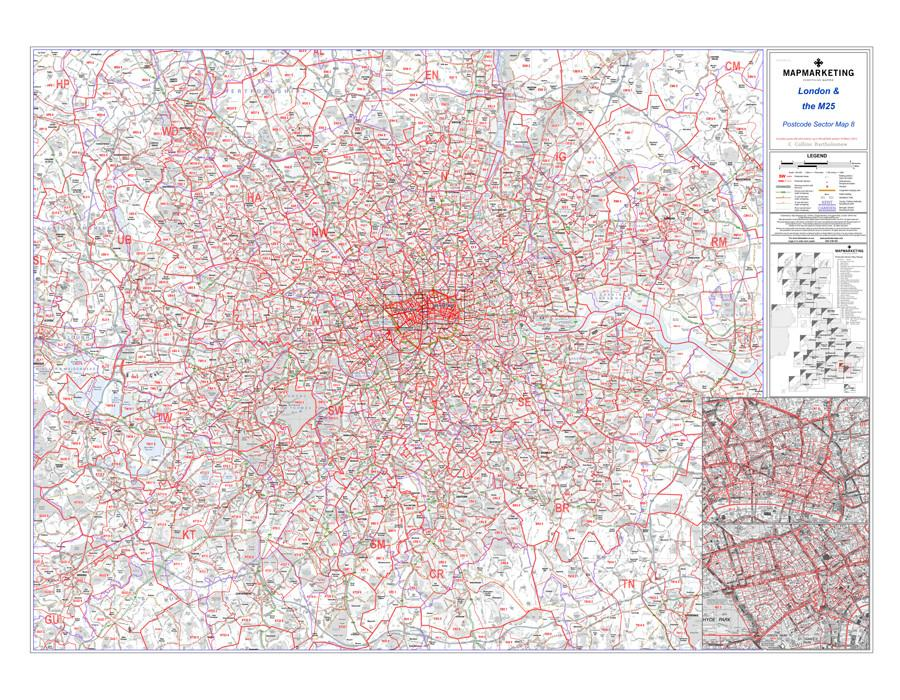 Wall Maps - London And The M25 Postcode Wall Map - Sector Map 8