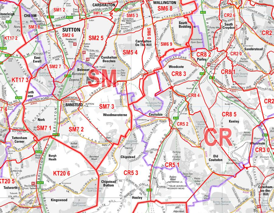 London and the M25 Postcode Wall Map - Sector Map 8