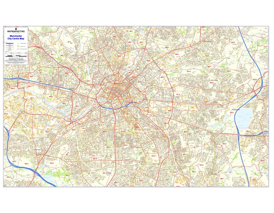 Wall Maps - Manchester Postcode Wall Map - City Sector Map 8
