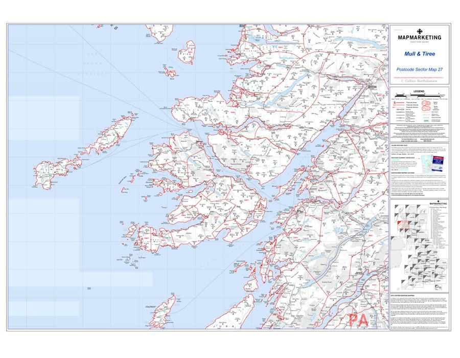 Wall Maps - Mull And Tiree Postcode Wall Map - Sector Map 27