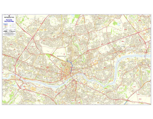 Wall Maps - Newcastle-upon-Tyne Postcode Wall Map -  City Sector Map 9
