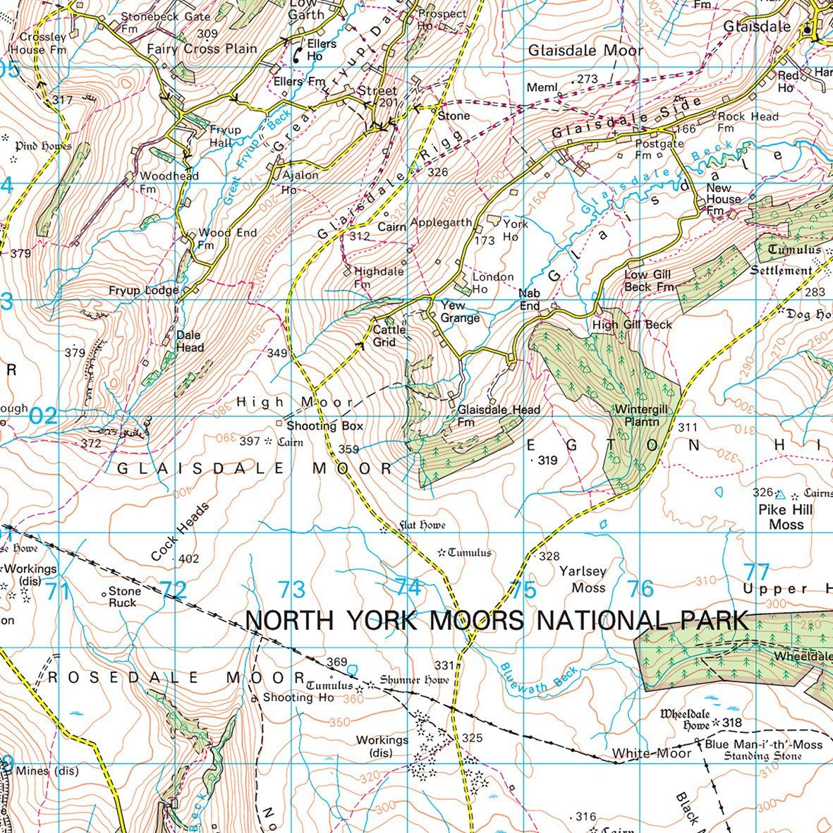 wall maps north york moors uk national park wall map