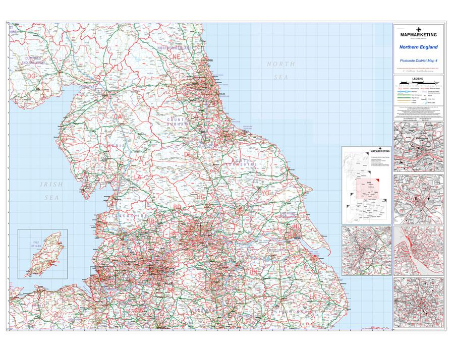 Map Of Northern England.Northern England Newcastle Upon Tyne Leeds Manchester Liverpool Postcode Map District Map 4