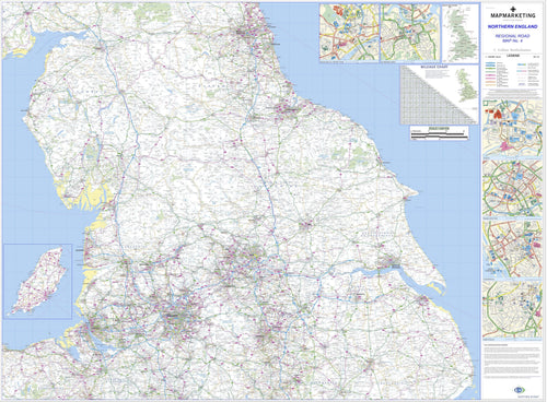 Wall Maps - Northern England Regional Road Map - Wall Map 4