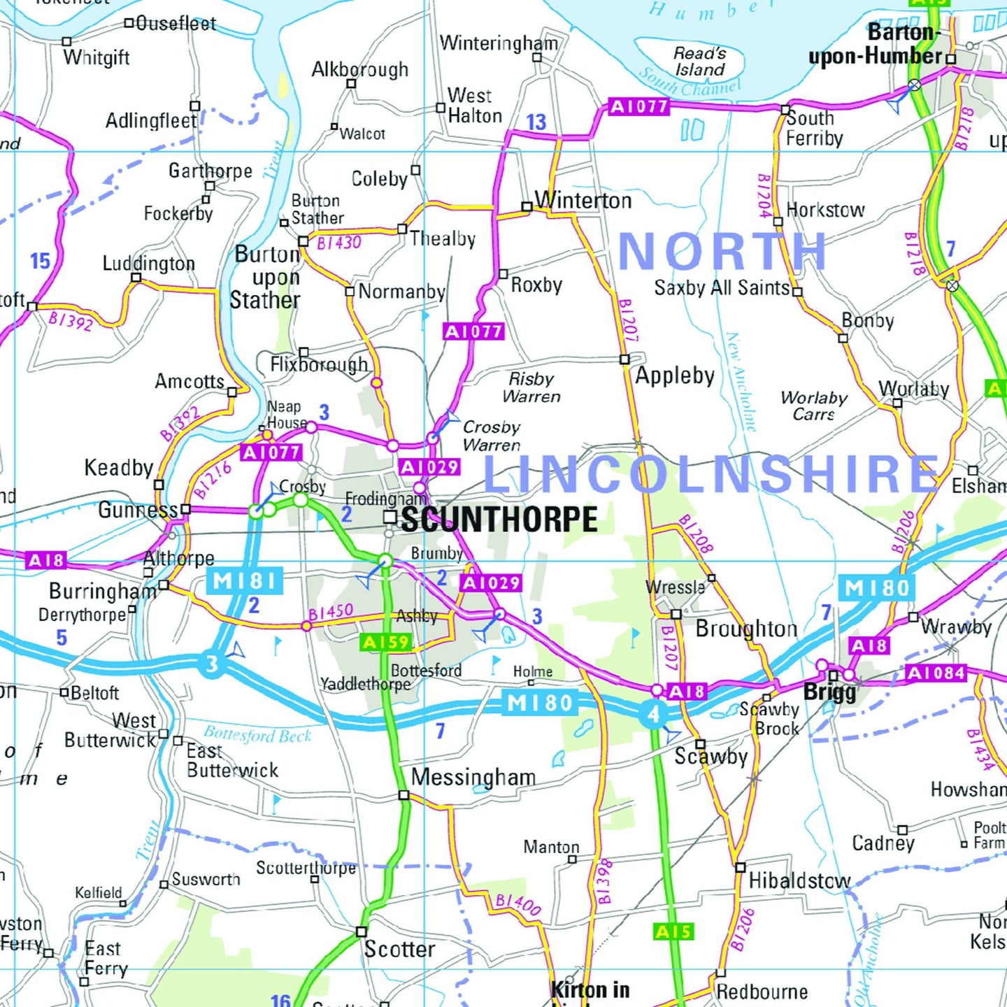 Map Of England Lincolnshire.Northern England Regional Road Map Wall Map 4