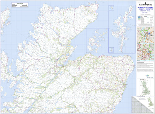 Wall Maps - Northern Scotland, Orkney And Shetland Regional Road Map - Wall Map 1
