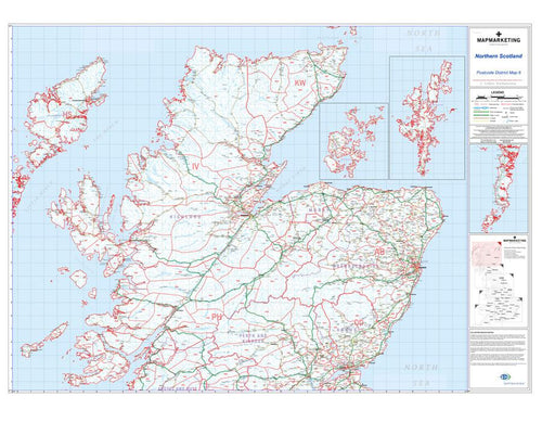 Wall Maps - Northern Scotland (Uist, Orkney And Shetland) Postcode Map - District Map 6