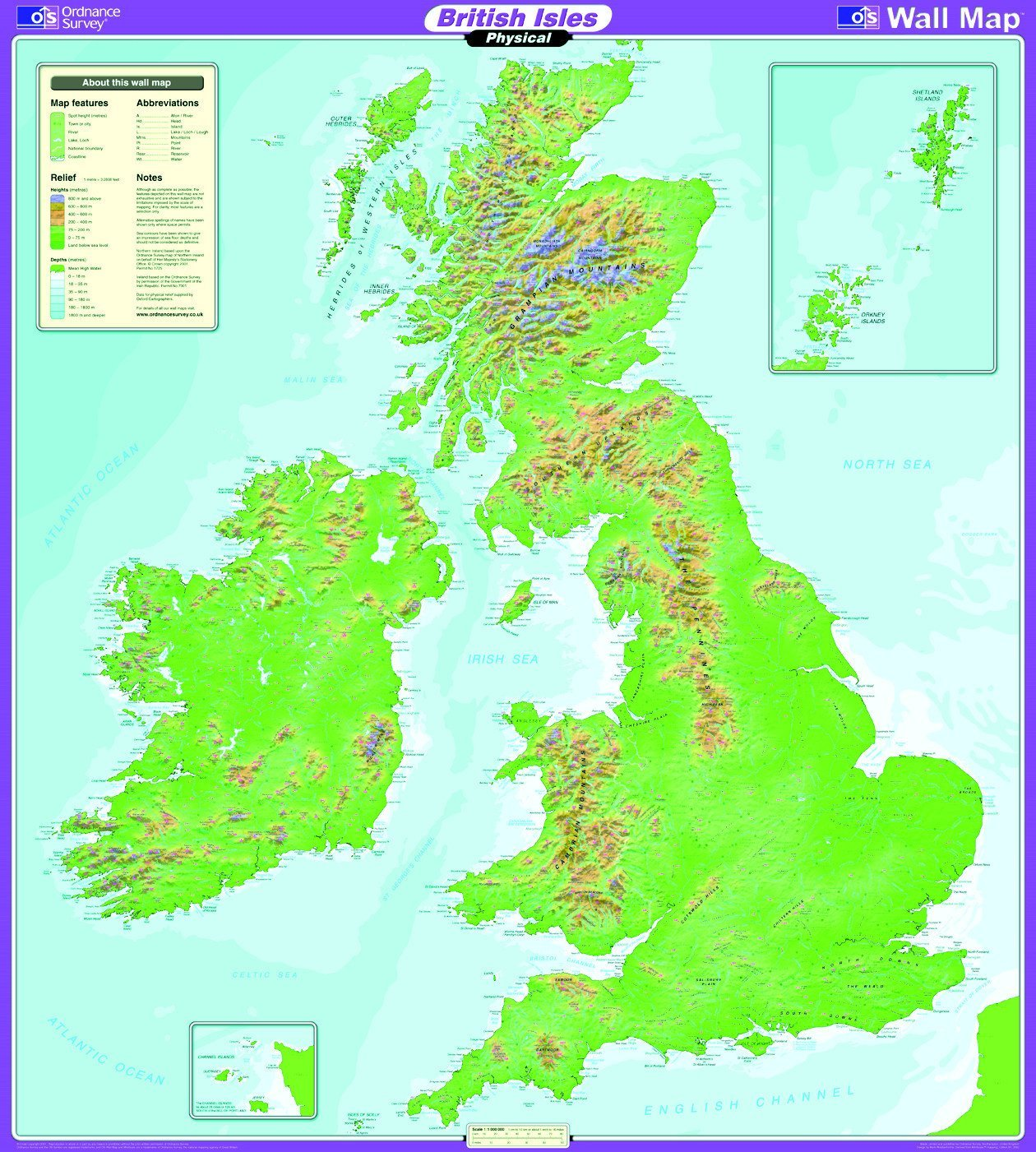 Os Map Of Ireland.Ordnance Survey United Kingdom Wall Map Series