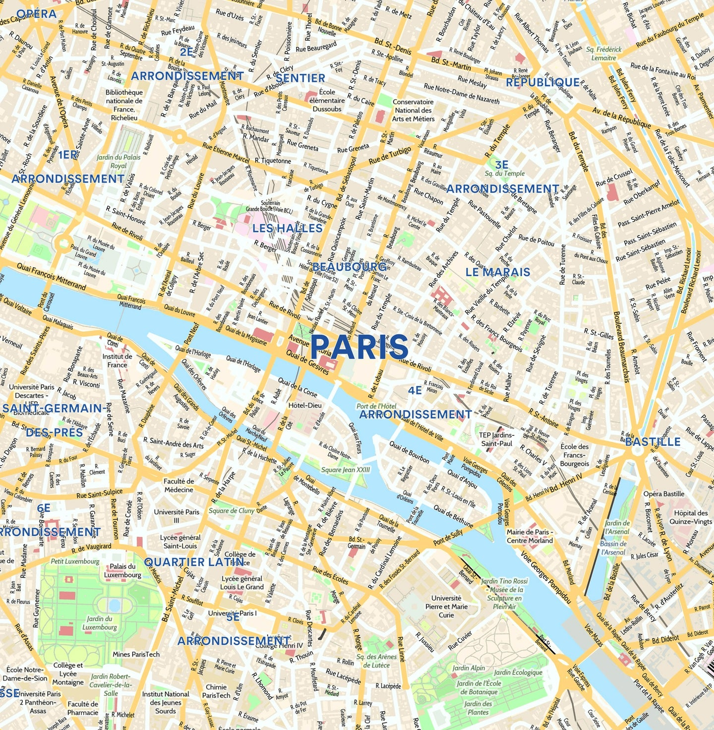 Maps Of Paris France Paris City Map   Laminated Wall Map of Paris, France