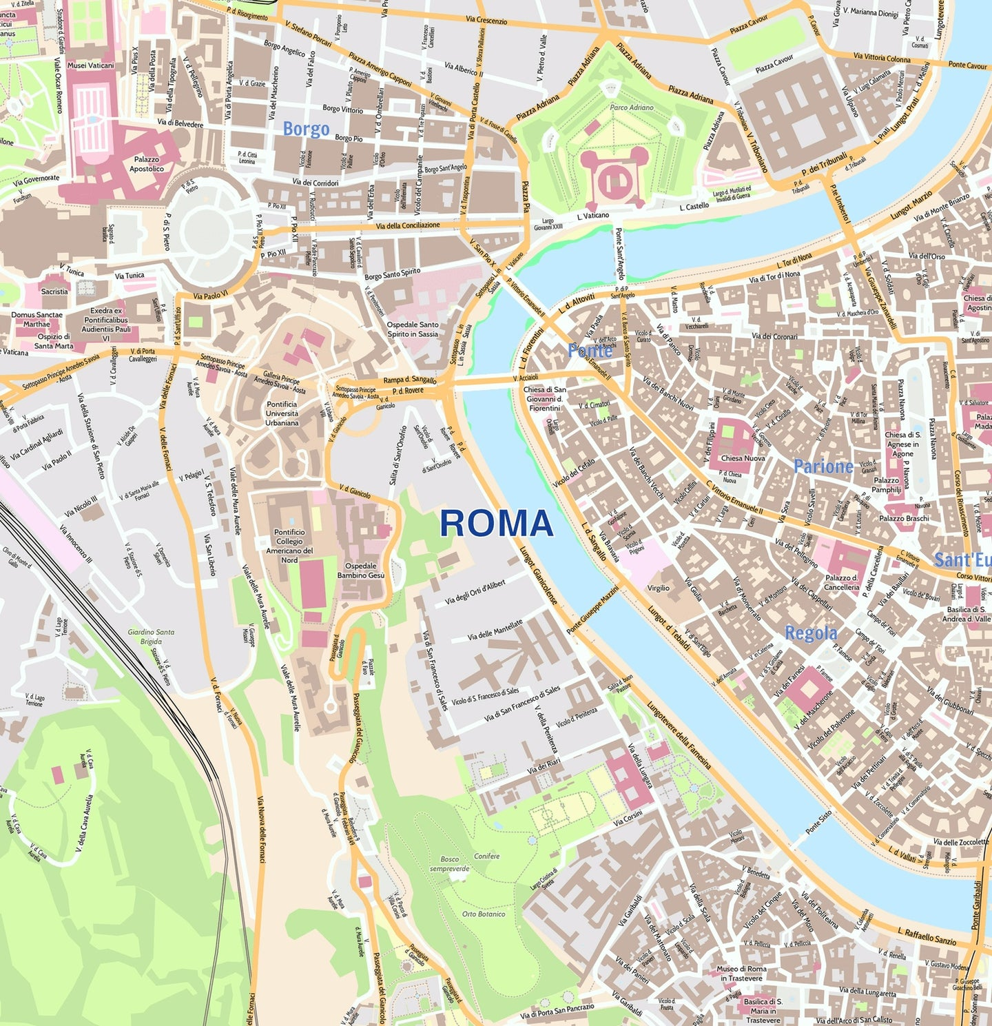 Roma City Map - Laminated Wall Map of Rome, Italy