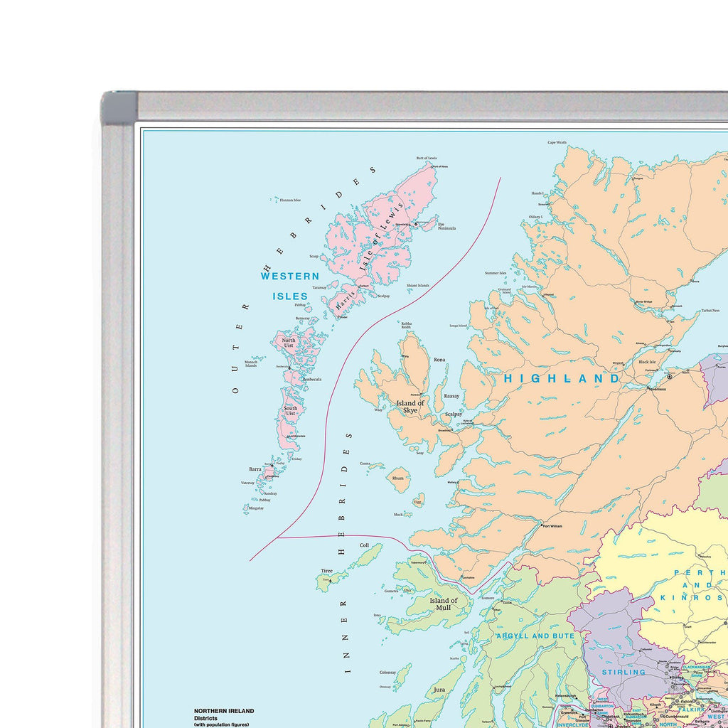 Map Of France And Scotland.Scotland Road Map Laminated Or Framed Wall Map Of Scotland