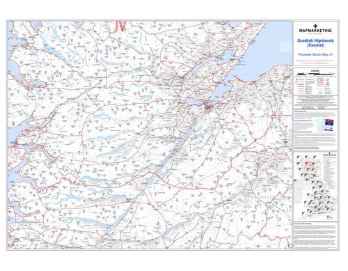 Wall Maps - Scottish Highlands (Central) Postcode Wall Map - Sector Map 31