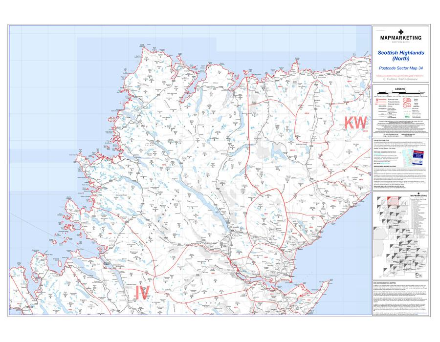 Wall Maps - Scottish Highlands (North) - Postcode Sector Map 34