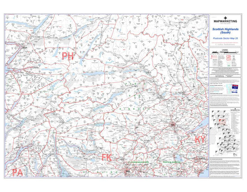 Wall Maps - Scottish Highlands (South) Postcode  Wall Map - Sector Map 28