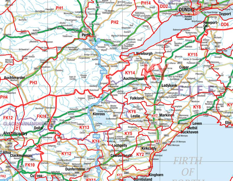 South and Central Scotland (Glasgow, Edinburgh and Newcastle-upon-Tyne)  Postcode Wall Map - District Map 5