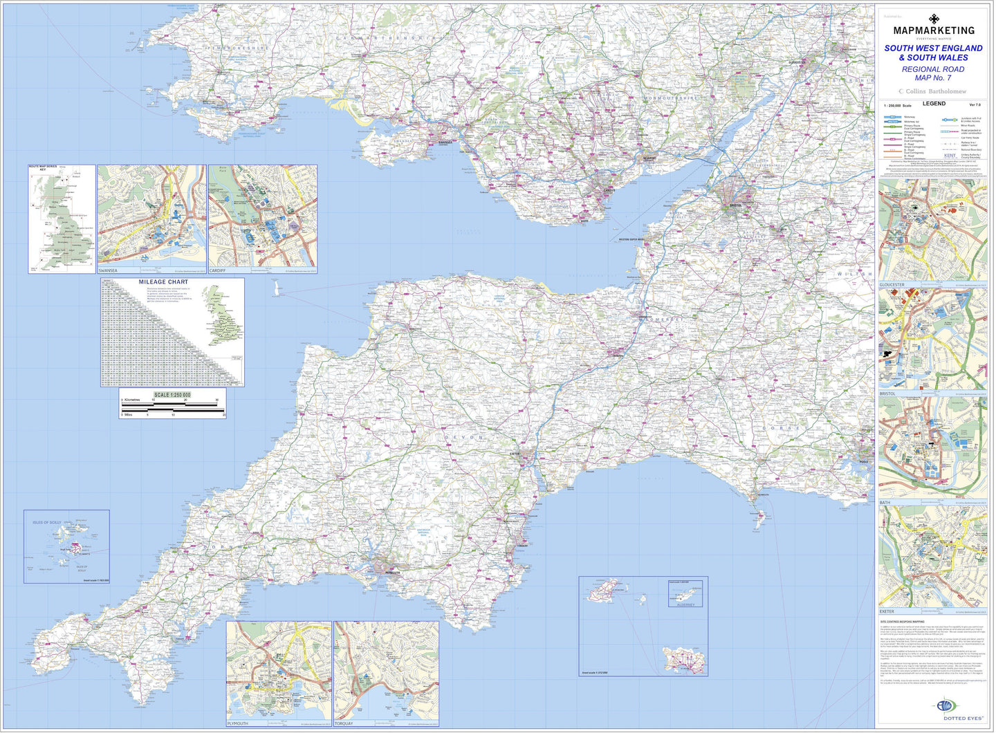 South West England And South Wales Regional Road Map Wall Map 7