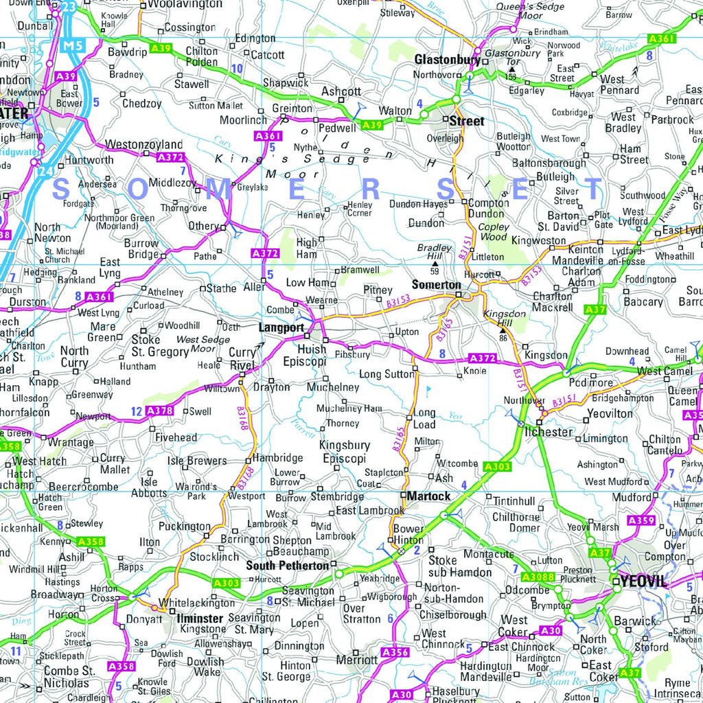 Map Of England South.South West England And South Wales Regional Road Map Wall Map 7