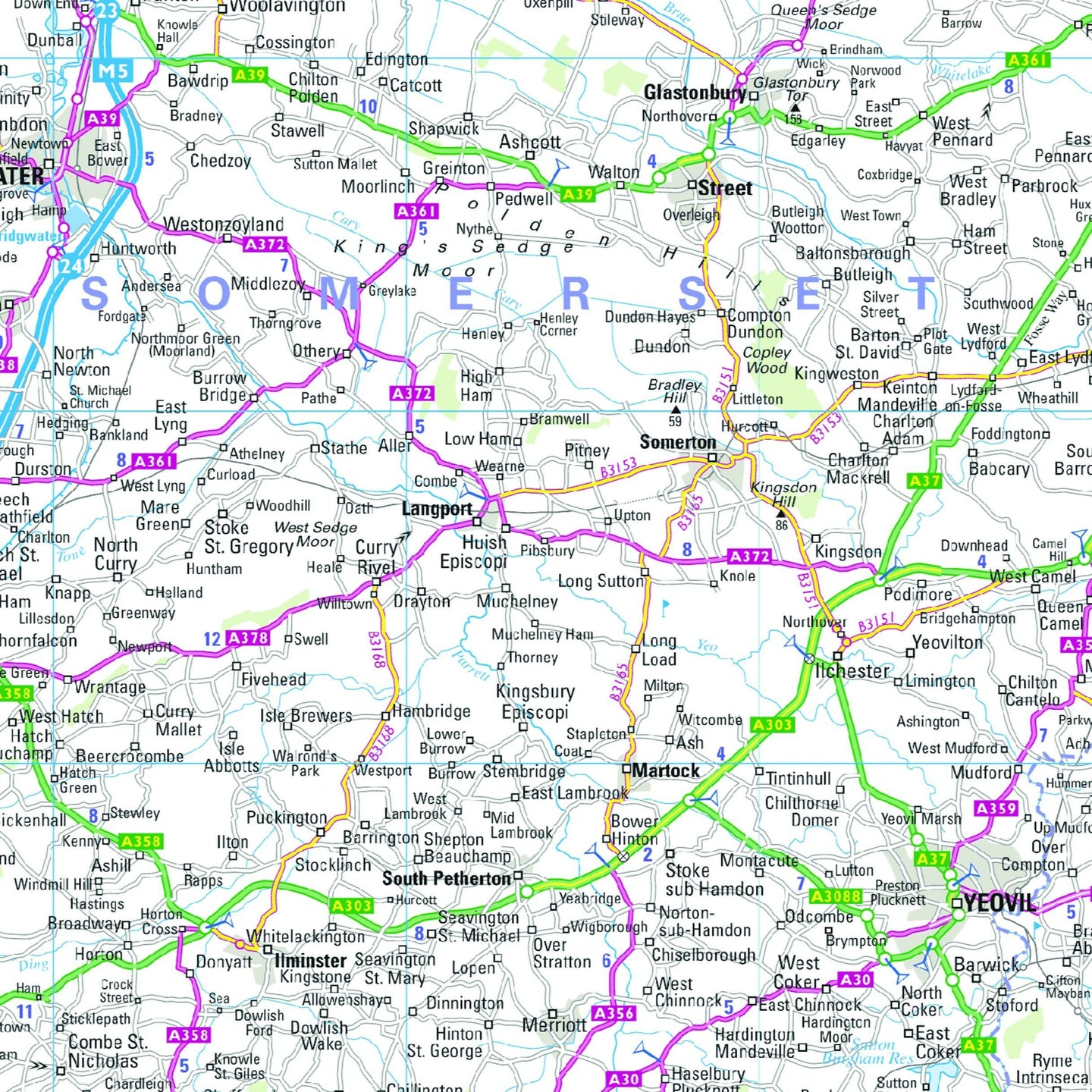 South West England and South Wales Regional Road Map - Wall Map 7 on