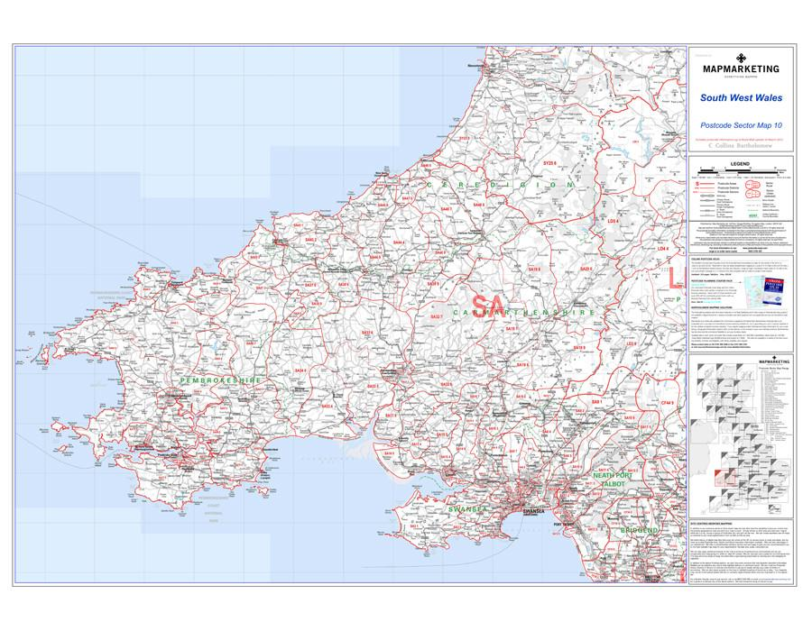 Wall Maps - South West Wales Postcode Wall Map - Sector Map 10