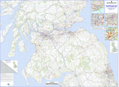 Wall Maps - Southern Scotland And Northumberland Regional Road Map - Wall Map 3