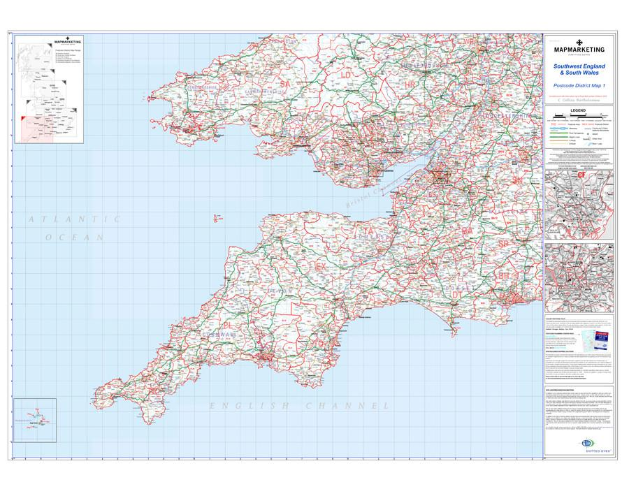 Map Of England Wales.Southwest England And South Wales Cardiff And Bristol Postcode Wall Map District Map 1