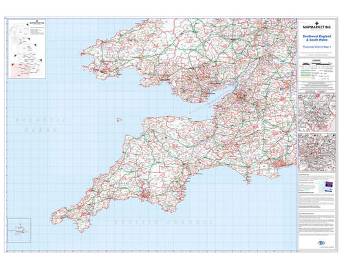 Wall Maps - Southwest England And South Wales (Cardiff And Bristol) Postcode Wall Map - District Map 1