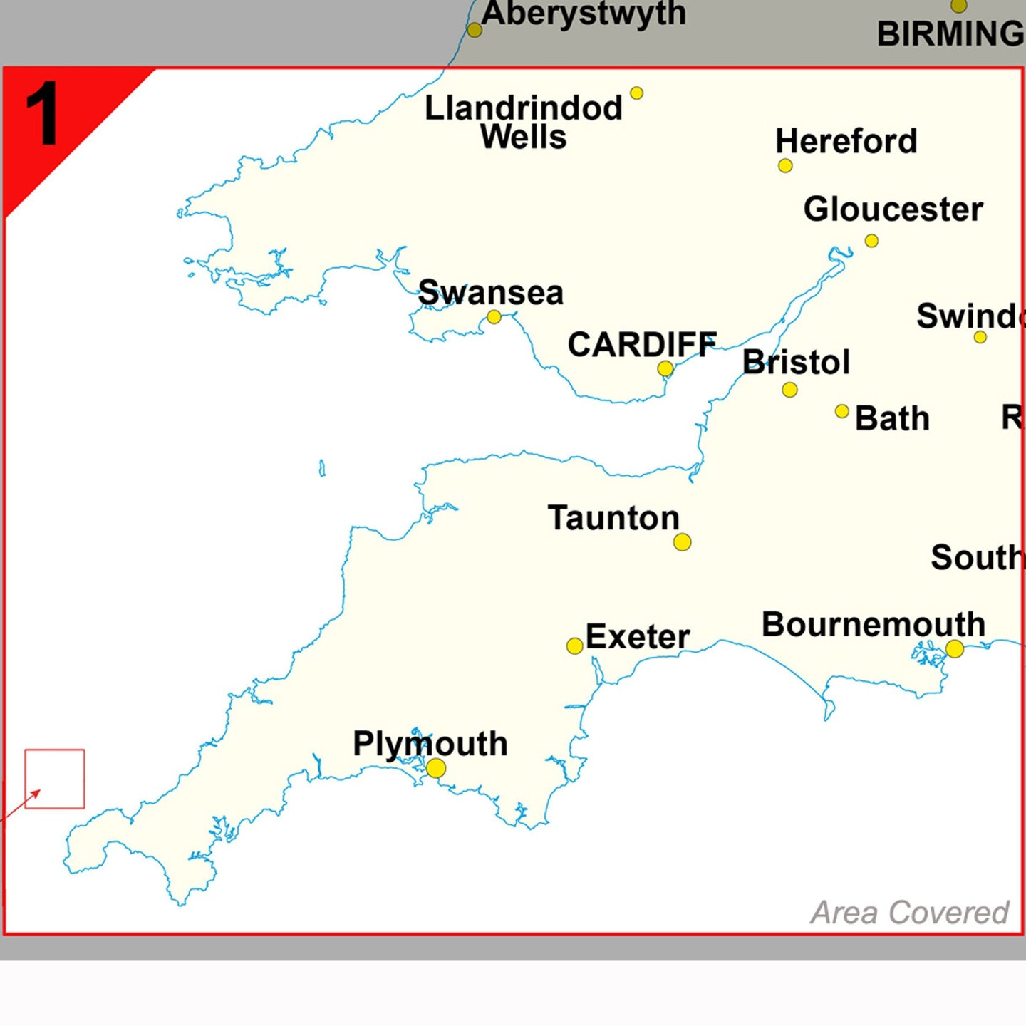 Map Of Bristol England.Southwest England And South Wales Cardiff And Bristol Postcode Wall