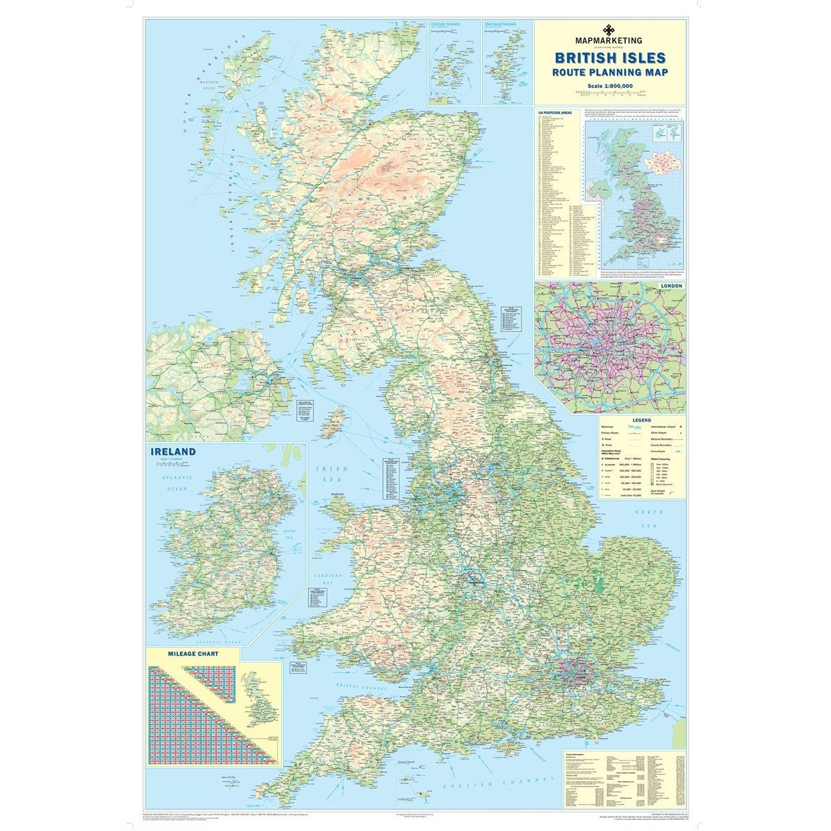 Wall Maps - Supersize British Isles Motoring Wall Map