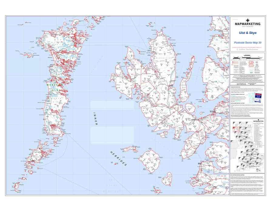 Wall Maps - Uist And Skye Postcode Map - Sector Map 30