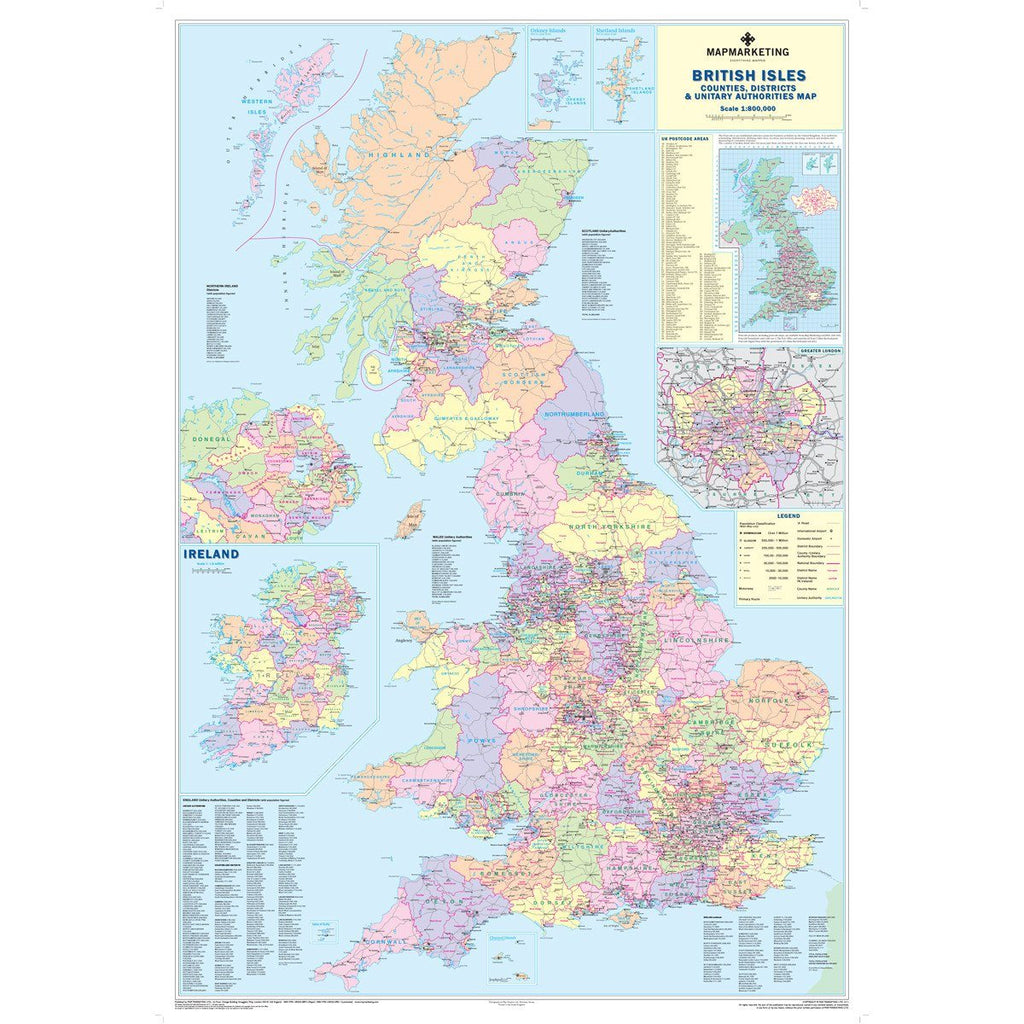 British Isles Counties Map Wall Map Of Uk Ireland Map Marketing