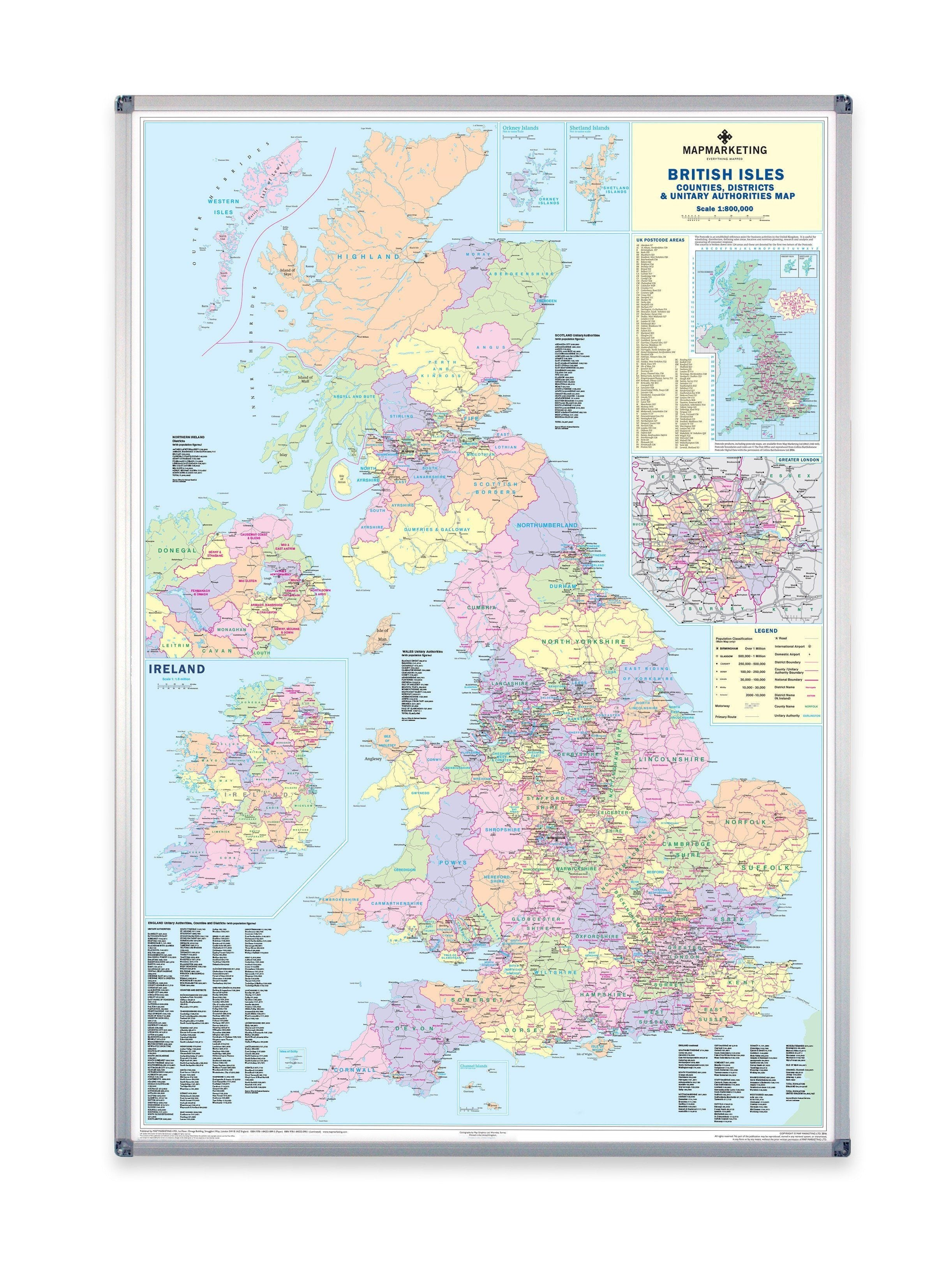 British Isles Counties Map County Wall Map Of UK And Ireland