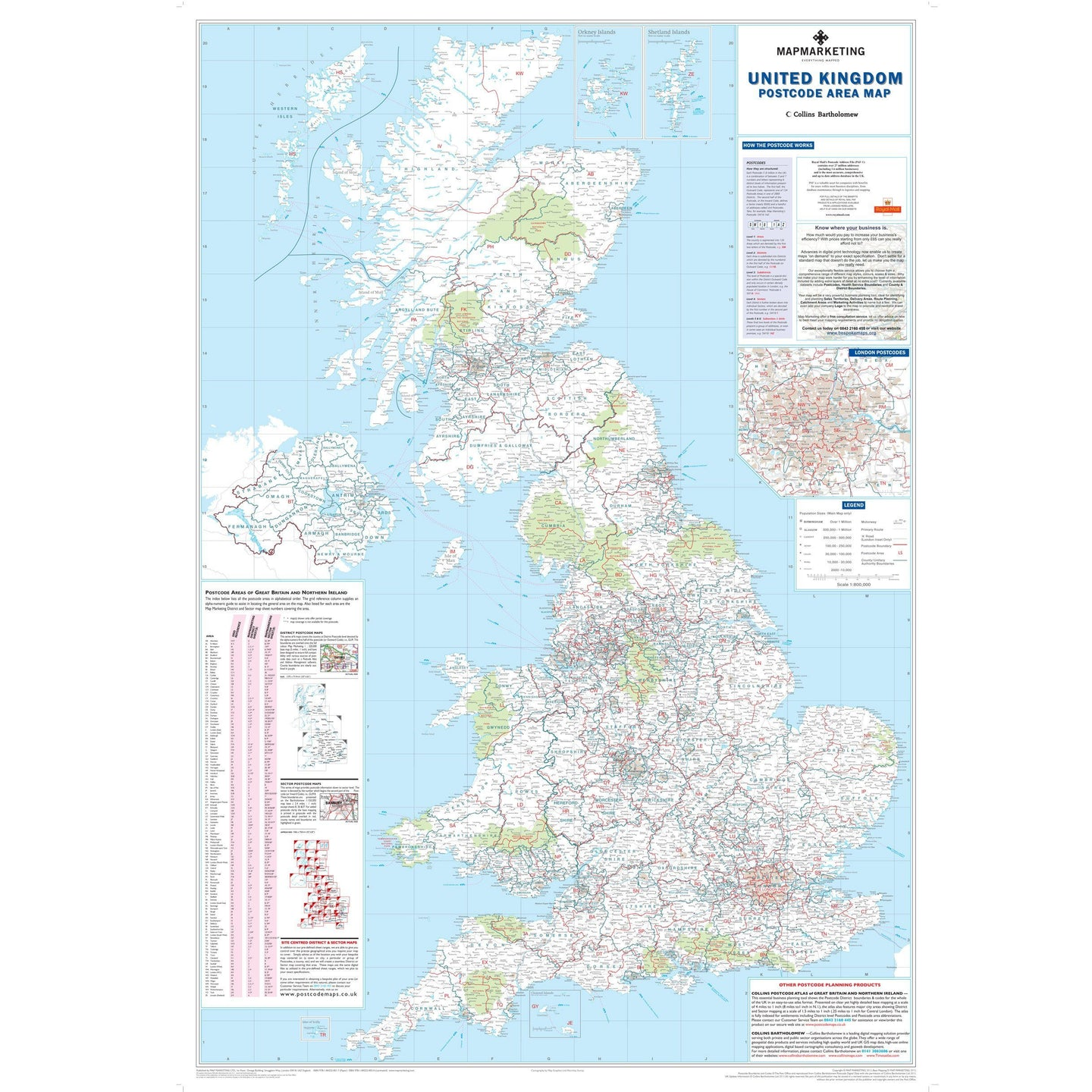 UK Postcode Wall Map of Great Britain & NI | Map Marketing