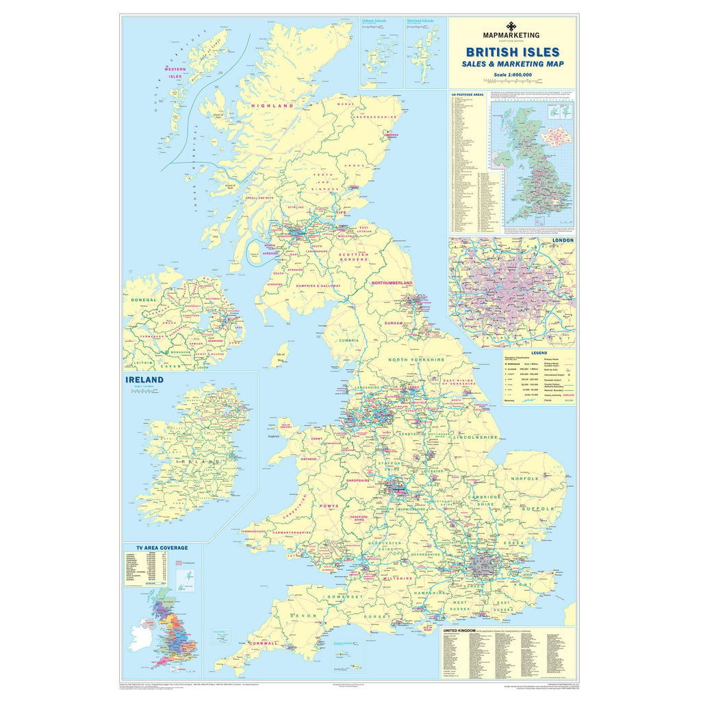 Uk Sales And Marketing Wall Map Map Of Uk Showing Counties And Roads