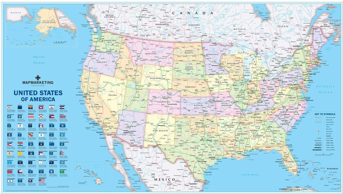 Wall Maps - USA Political Wall Map